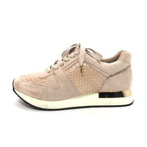 Rachel Zoe Blush Pink Suede & Snakeskin Sneakers